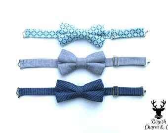 Navy Blue Boys Bow Tie, Dusty Gray Boys Bow Tie, Sky Blue and Grey Bow Tie, Toddler Bow Tie, Wedding Ring Bearer, Paige Boy Bowtie