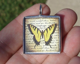 Soldered glass art pendant charm yellow butterfly nature insect jewelry