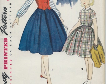 UNCUT Vintage 1950's Girl's Dress and Weskit Sewing Pattern Simplicity 4393