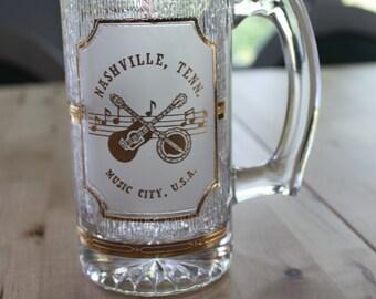 Vintage Nashville Tenn, Music City USA Glass,  22K GOLD - made by Culver, Vintage Beer MUG, Heavy Gold and Glass textured mug