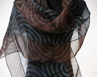 Evening Wrap Hand Dyed Silk and Pieced Shibori on Silk Organza Blue, Black, Brown
