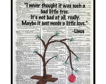 Charlie Brown Christmas Tree, Charlie Brown Christmas, Linus Quote, 8x10 Vintage Dictionary Page Art Print, Home Decor, Holiday Decor