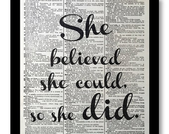 "Affirmation Quotes, ""She Believed She Could So She Did"", Affirmation Quote Prints, Affirmation Quote Picture, size 8x10, Women Art Prints"