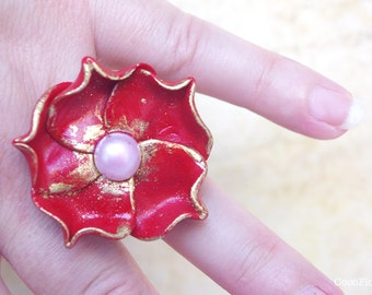 Large Red Rose Ring, best selling jewelry, trending ring, best seller, blossom ring