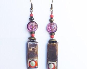boho psychedelic orange purple earrings dangle / Hippie  chic / geometric mandala zen style / bohemian jewelry