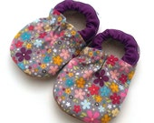 baby shoes flowers, purple and gray, flower shoes for girl, soft sole shoes baby girl shoes toddler shoes baby clothing shoes that stay on
