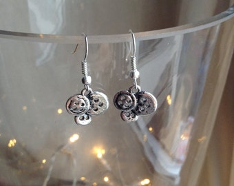 Silver Plate Button Cluster Earrings