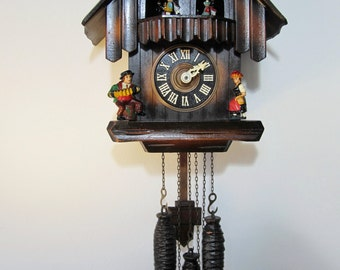 Vintage CUENDET Black Forest Large size Cuckoo Clock with Dancers Animated Carousel Hand Carved Wooden Wall Clock in Dark Brown color 706-41
