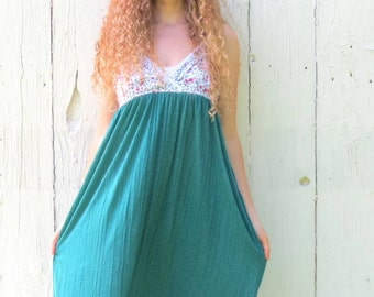 Half Off SALE use code: finishwell Floral Sundress upcycled maxi dress regency style dres recycled repurposed clothing for women size sm-med