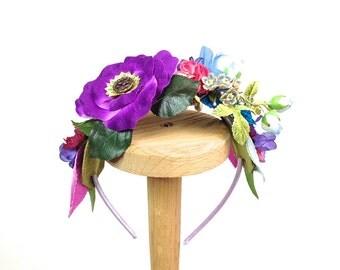 Flower Girl Headband Pink Fushia Rose Wedding Headband Antique Button Vintage silk flowers First Holy Communion