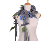 SALE! comfortable shawl, attractive nuno felted necklace, elegant handmade collar, artistic neckwear with lovely blue flowers - by inmano