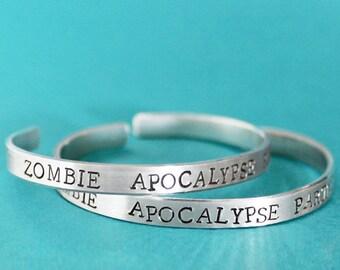 Zombie Apocalypse Partner Bracelets, Friendship Bracelets, Best Friend Jewelry, Zombies Buddy Virus Plan Gift Idea Set of 2 Outbreak Dead