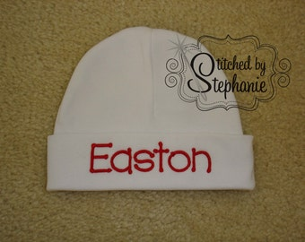 Custom personalized monogrammed personalized name red on white newborn baby boy hat