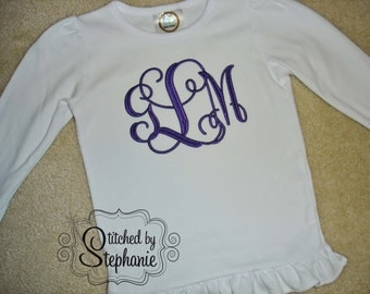Girls Embroidered Personalized Monogrammed Purple on White Ruffle Long Sleeve Shirt with Ruffle Hem