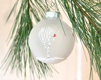 Hand painted ornament painted birch trees ornament cardinal ornament Christmas party ornament rustic Christmas tree decoration