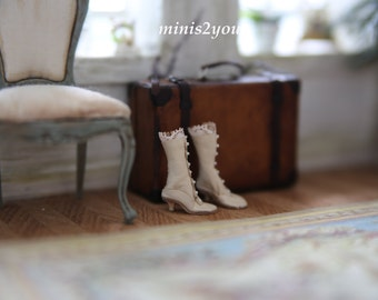 Edwardian bride boots made of incredible soft and thin real leather in scale 1:12