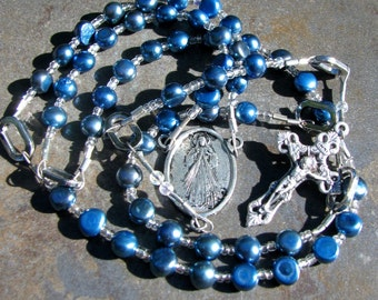Womens Rosary - 5 Decade Catholic Rosary – Blue Freshwater Pearls - Catholic Gift Handmade Beaded Rosaries Confirmation Christening Wedding