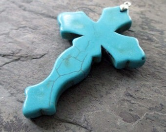 turquoise blue howlite cross pendant large stone south western carved boho bohemian religious