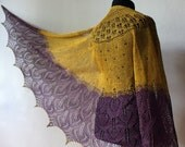 Lace shawl - lace linen shawl in mustard and purple colors with golden glass beads.