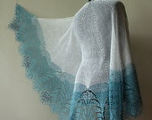 Lace shawl - lace linen shawl in frosty snow white and light blue colors with red beads. Frozen Mountain Ash