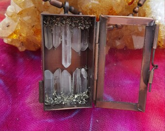 Clear Quartz and Pyrite Dust Intention or Wish Locket Necklace