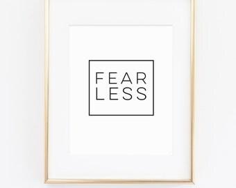 INSTANT DOWNLOAD Printable Wall Art. Wall Art Prints. Wall Decor. Art Print. Inspirational. Motivational. Type. Fearless Digital Art Print