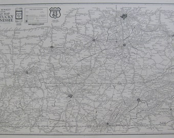 RARE Map of KENTUCKY Road Map 1927  Vintage Black and White Gallery Wall Art 6861