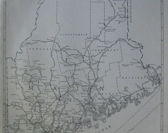 Uncommon MAINE Map of Maine RARE Size 1927 Black and White Gallery Wall Art  Plaindealing 6272