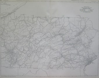 1927 Antique PENNSYLVANIA Map Rare Size Black and White Original Map Collector Gift For Traveler  6286