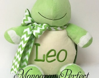 Leo - Already Personalized, Monogrammed Stuffed Turtle, Soft Toy, Plush, Pillow