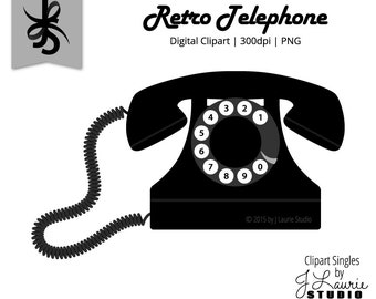Clip Art Clipart Telephone telephone clipart etsy digital singles retro black phone vintage graphics image scrapbook element png instant download clip art