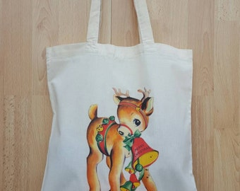 Sweet Christmas Deer - Natural Cotton Canvas Tote Bag