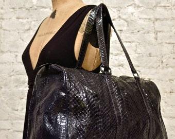80s Genuine Snakeskin Satchel - Jet Black - Suede Lining - Stunning