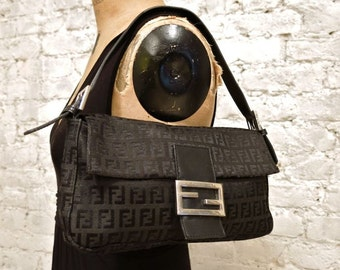 90s FENDI Leather and Zucca Print Canvas Baguette Bag