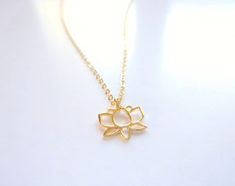 Lotus Necklace Dainty Gold Necklace Delicate Flower Necklace Yoga Jewelry, Yoga Necklace Lotus Jewelry Gold Necklace, Delicate Gold Necklace