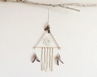 Dream catcher, large, boho dreamcatcher, triangle, wood, crochet doily, wall decor, neutral, hanging, handmade, room decor, american native