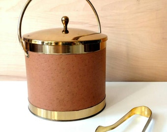 Vintage Pyrex Gold Brass and Faux Leather Ice Bucket with a Glass Insert