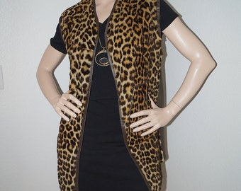 1970s Faux Fur Leopard Animal Print Fur Jacket Vest / 70s Faux Leopard Fur and Leather Vest / Mod Leopard Print 60 70s Vest