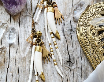 Bohemian horn amulet necklace, tusk boho jewelry, bohemian jewelry, tribal gypsy necklace, tusk necklace, hippie jewelry