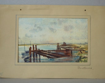 Vintage watercolour Southwold Suffolk English seaside town Seascape with boats Coastal painting Original art Signed painting H Hunter