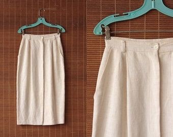 White Natural Ramie Button Up Skirt