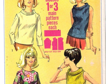 """Vintage 1966 Simplicity 6819 Mod Set of Blouses Sewing Pattern Size 12 Bust 32"""""""