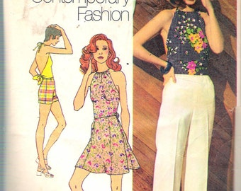 """Vintage 1972 Simplicity 9971 Young Contemporary Fashion Pants, Shorts, Halter Top & Mini-Skirt Sewing Pattern Size 12 Bust 34"""""""
