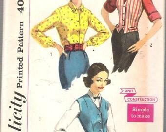 "Vintage 1957 Simplicity 2240 Weskit & Blouse Sewing Pattern Size 14 Bust 34"" UNCUT"