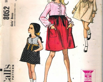 """Vintage 1965 McCall's 8052 Girl's High Waisted Dress Sewing Pattern Size 10 Breast 28"""""""