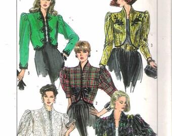 "Vintage 1989 Simplicity 8954 Lined Bolero Jacket Sewing Pattern Size 16 Bust 38"" UNCUT"