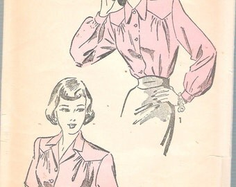 """Vintage 1947 Advance 4681 Blouse in Two Styles Sewing Pattern Size 16 Bust 34"""""""
