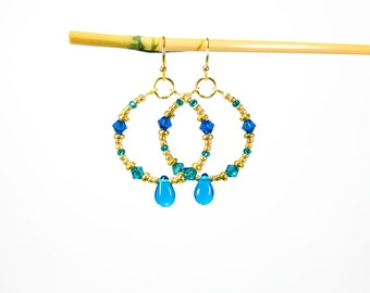 Oceans Blue and Gold Crystal Hoop Earrings