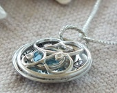 Locket Necklace, Personalized Locket, Sterling Silver, Swarovski charm, Initial  or name or phrase Necklace, Personalized Jewelry