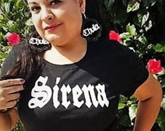 SIRENA Black T-shirt Woman's Shirt Mermaid HTV hand drawn design